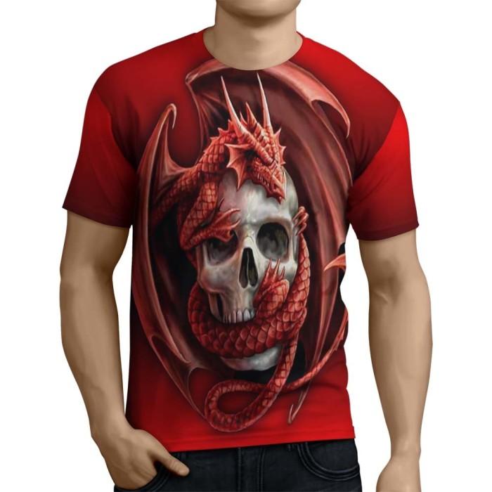 harga Kaos t-shirt lengan pendek pria tema skull 3d full print  - art 14 Tokopedia.com