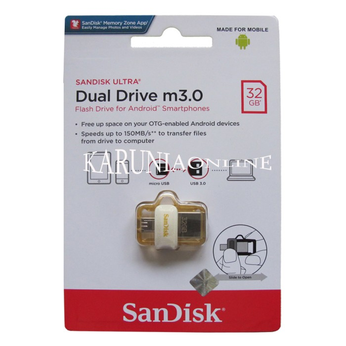 harga Sandisk flashdisk usb otg m3.0 white 32gb/up to 150 mb/s Tokopedia.com