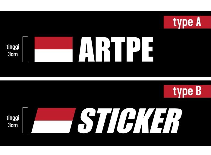 Custom sticker bendera indonesia label nama kaca mobil