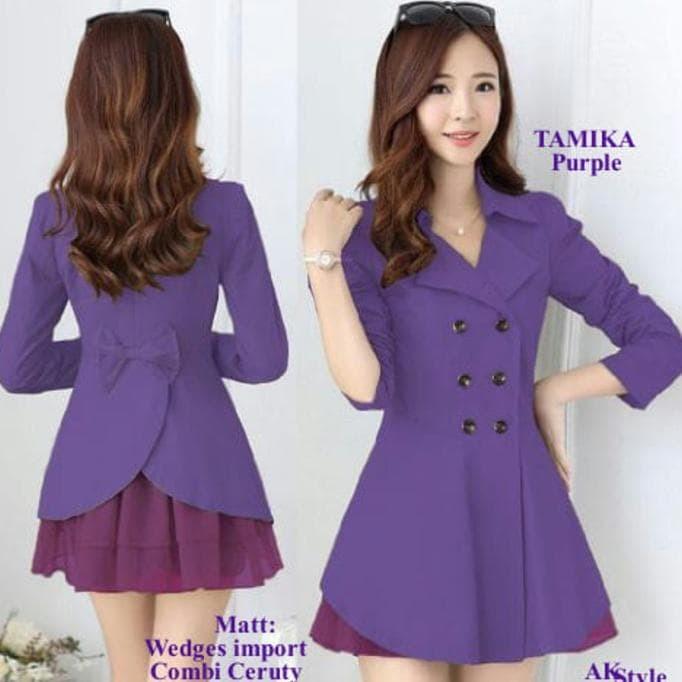 New! Tamika Purple Ak Dress Wanita Wedges Import Ungu