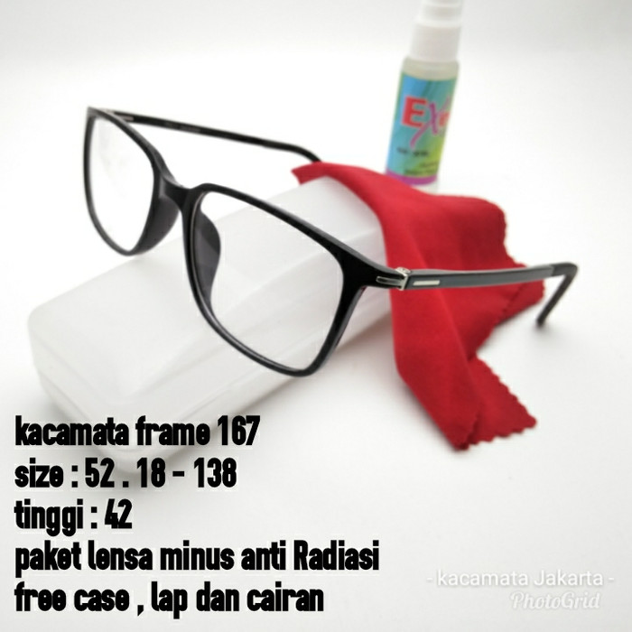 Harga Frame Kacamata OTR533 Sporty GRATIS Lensa Minus Plus. Kacamata Frame  167 Hitam Glossy Lensa f072e4d730