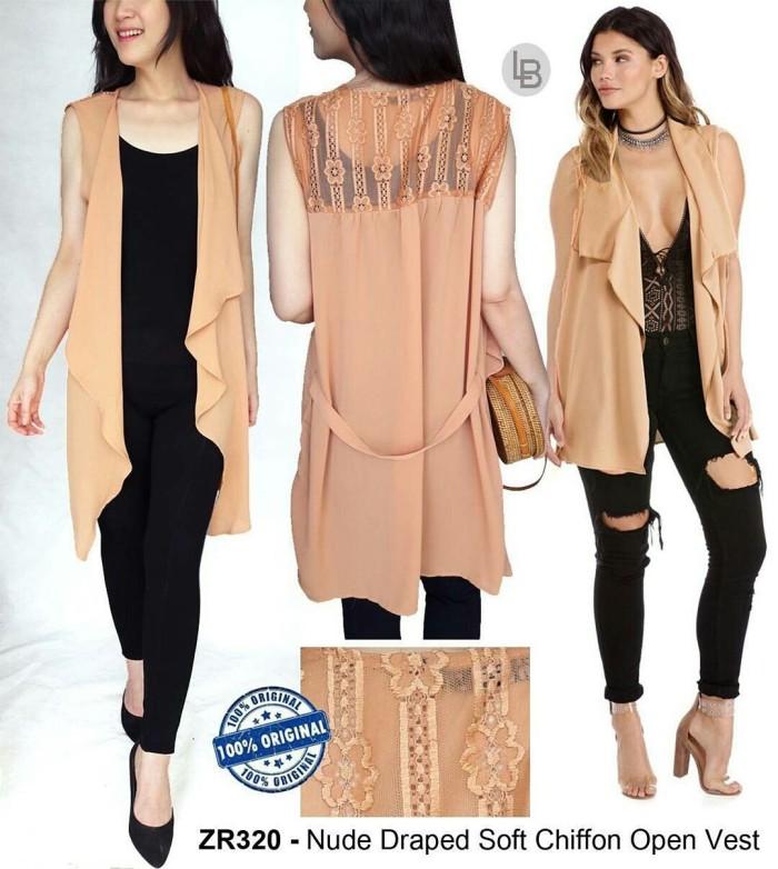 harga Baju Branded Murah Zara Camel N Dusty Pink Draped Soft Chiffon Vest Tokopedia.com