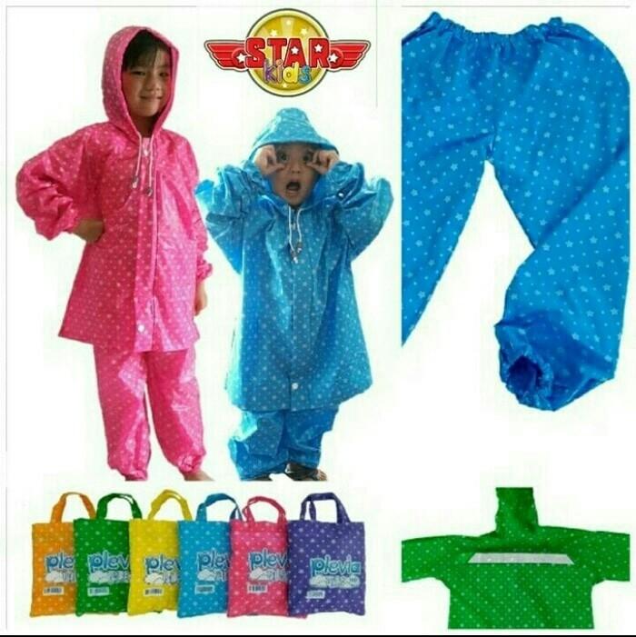 Jas hujan anak stelan baju celana plevia kids star plevia 110