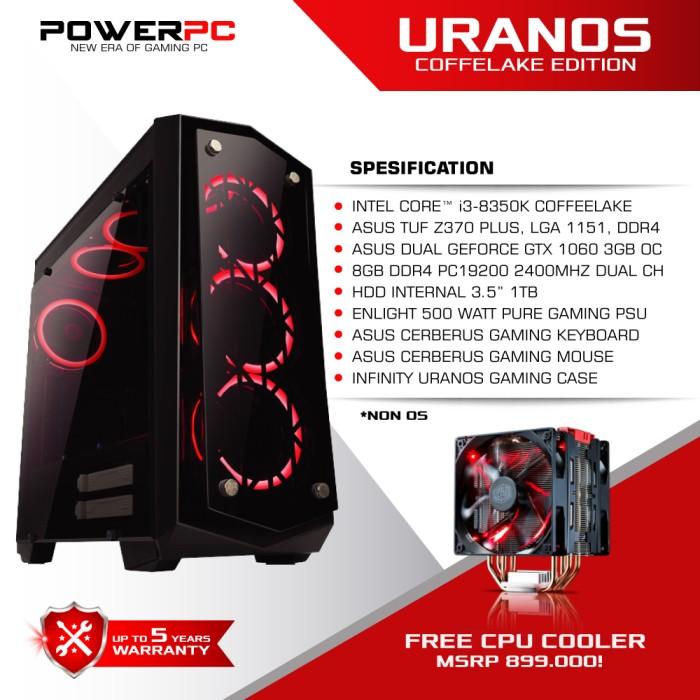 Foto Produk PC GAMING URANOS COFFEELAKE EDITION - I3 8350K - Z370 - GTX 1060 dari PowerPC