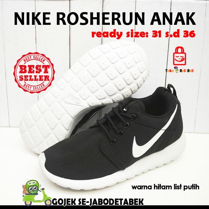 287863cd601 nike rosherun anak - hitam list putih. sepatu anak. sepatu sneakers