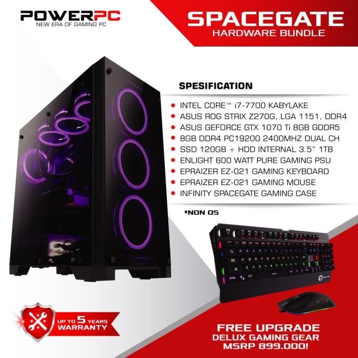 Foto Produk PC GAMING SPACEGATE - Intel core i7 7700 - Z270 - GTX 1070Ti - RAM 8GB dari PowerPC