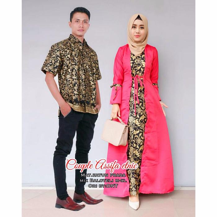 Harga Sarimbit Batik Couple Gamis Tampil Anggun Acara Kondangan