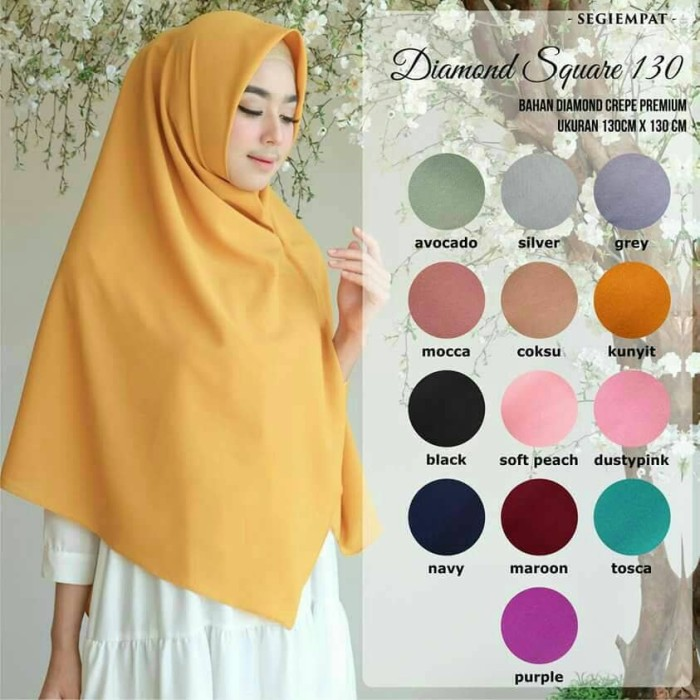 Jual Jilbab Hijab Segiempat Diamond Crepe Jumbo Polos Ukuran 130 X