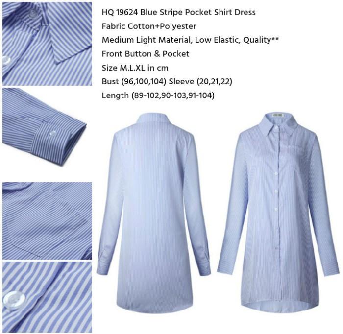 harga Hq 19624 blue stripe pocket shirt dress (size m,l,xl) bs061217 import Tokopedia.com