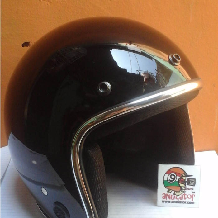 harga Helm bogo hitam glosy list chrome caferacer japstyle bobber lubro Tokopedia.com