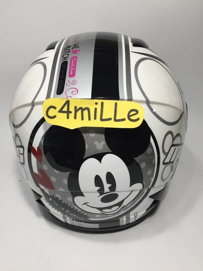 HELM MDS R3 JR JUNIOR MICKEY CLASSIC LOVE 01 WHITE SILVER HALF ANAK 1