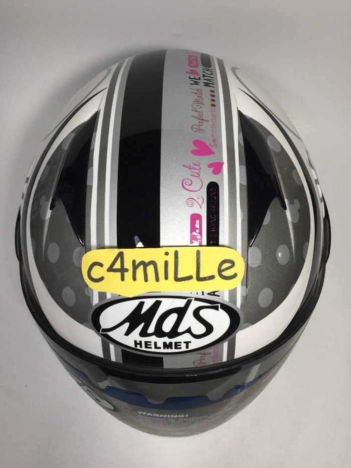 HELM MDS R3 JR JUNIOR MICKEY CLASSIC LOVE 01 WHITE SILVER HALF ANAK 2