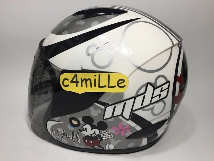 HELM MDS R3 JR JUNIOR MICKEY CLASSIC LOVE 01 WHITE SILVER HALF ANAK 3
