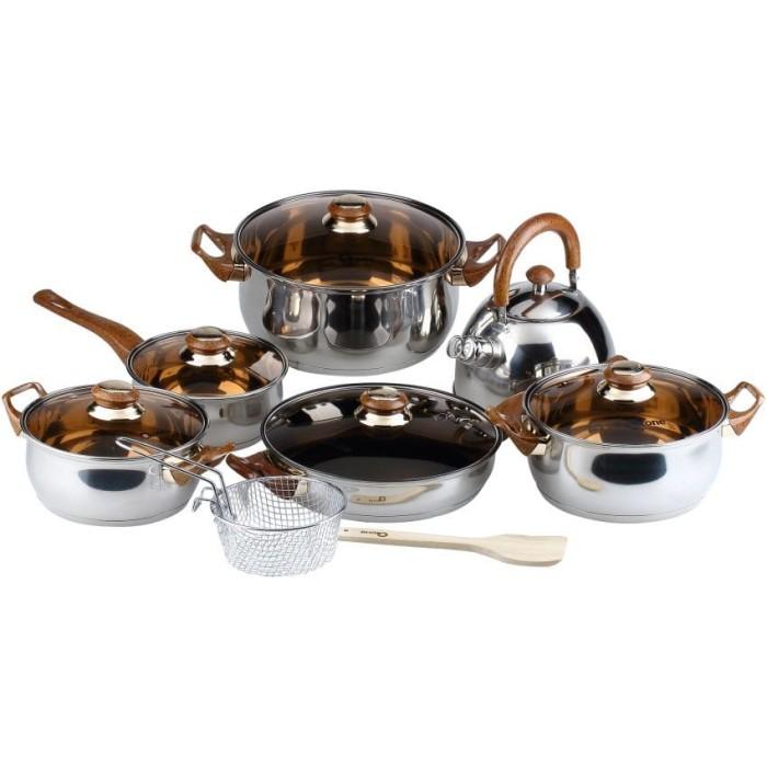 Oxone eco cookware panci set 12 + 2 pcs cokelat - (ox-933)