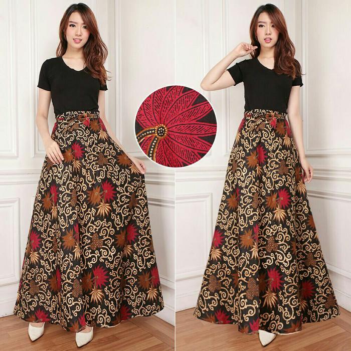 riema rok lilit payung batik long skirt sb .