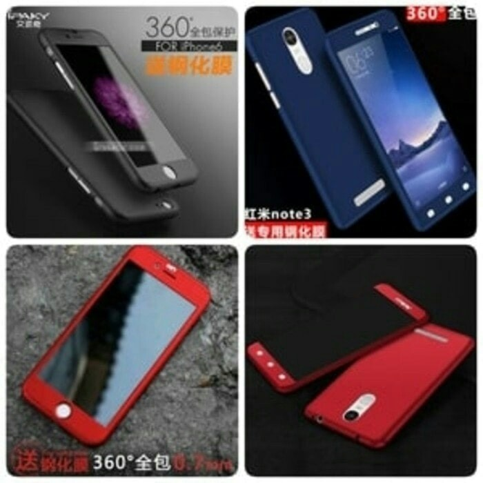 Case Ipaky 360 Xiaomi Redmi Note 5A Prime Free Tempered Glass