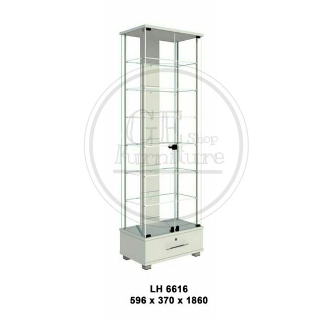 harga Lemari etalase / lemari pajangan full kaca rak 6 susun + laci lh 6616 Tokopedia.com