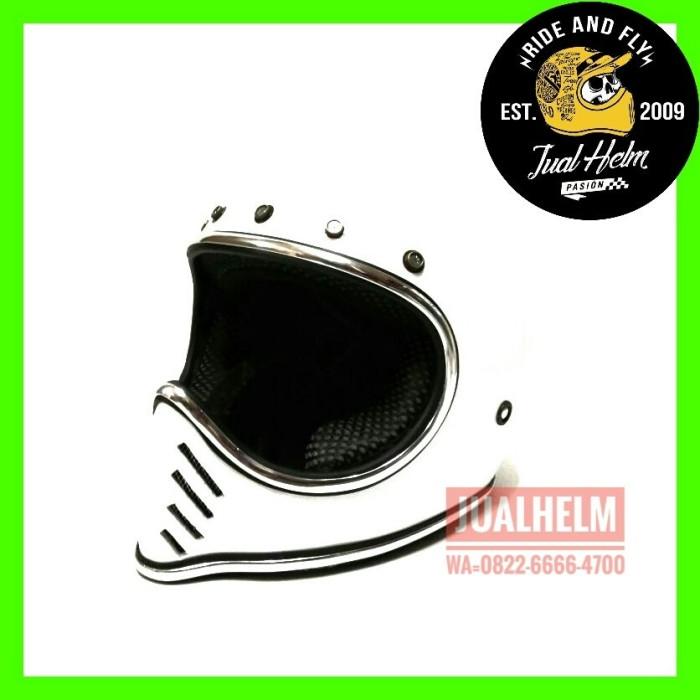 harga Helm custom/helm simpson/helm moto3 list chrome white Tokopedia.com