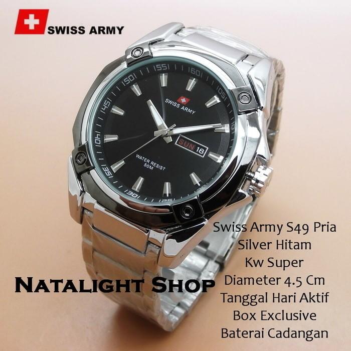 Jam Tangan Pria Swiss Army S49 Rantai Silver Hitam Super Tan T1310