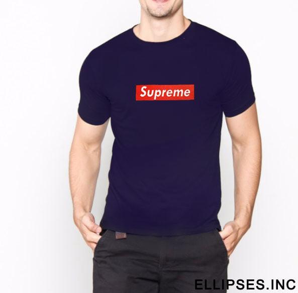 Tumblr Tee / T-Shirt / Kaos Pria Lengan Pendek Supreme Warna Navy