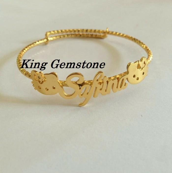 Gelang Nama Hello Kitty Gold Cantik & Lucu - Perhiasan Nama