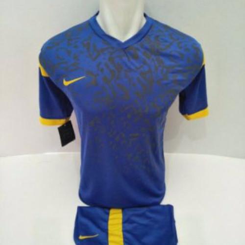 setelan olahraga kaos bola jersey futsal baju volly nike biru kuning
