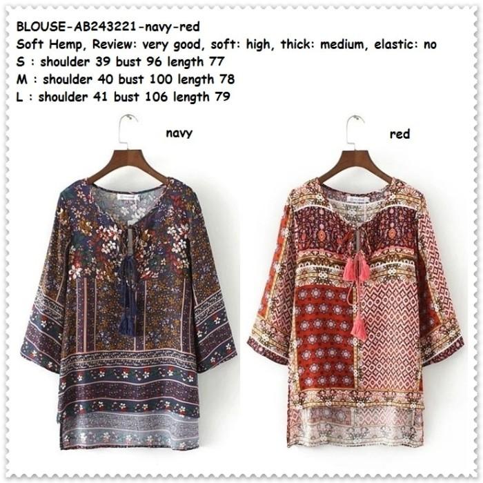 Foto Produk Baju Boho Bohemian Etnik Tunik Vintage Lengan Blouse Korea Import Red dari Amelie Butik Wholesale