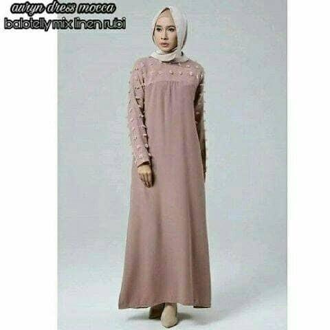 Jual Auryn Dress Mocca Busana Muslim Kekinian Baju Muslim Wanita