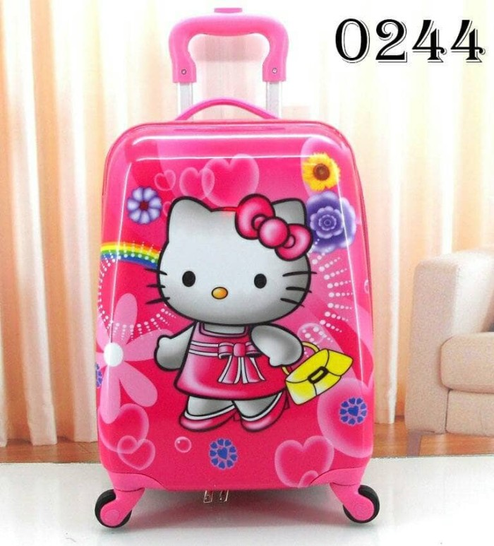 Tas Koper Troli Trolley Travel Sekolah Anak SD Fiber Hello Kitty Flowe