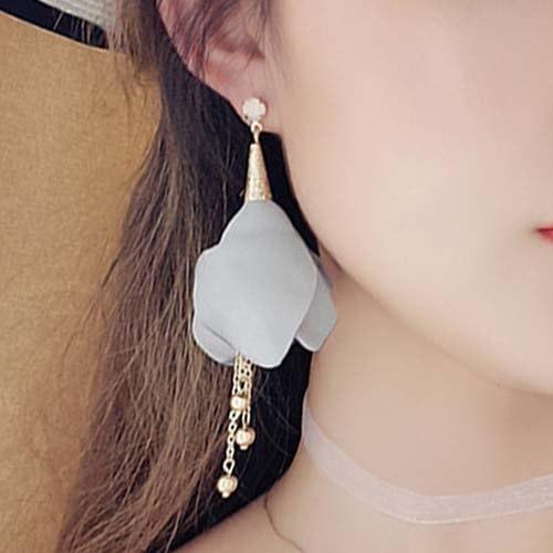 Anting Korea Fabric flowers tassel earrings - RSAGS513
