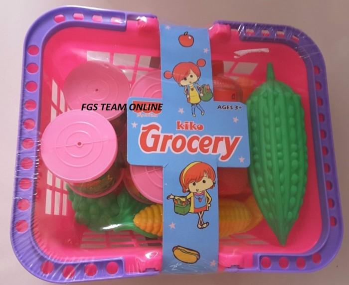 Mainan anak jual jualan mini market grocery keranjang