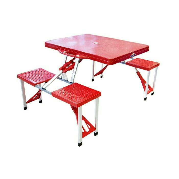 harga Meja kursi lipat piknik / mini cafe - merah Tokopedia.com