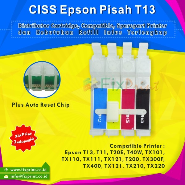 harga Ciss modif sistem infus epson t13 tx121 tx121 t11 c90 t20 t40w tx101 Tokopedia.com