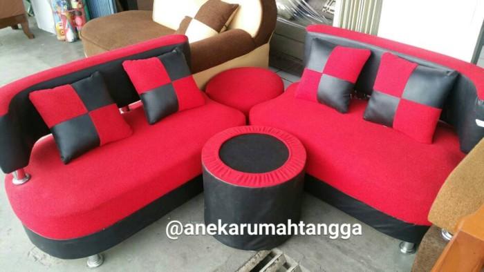 Jual Sofa Sudut Minimalis Merah Hitam Promo Terlaris Termurah Free