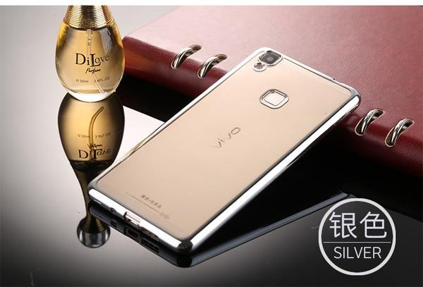 TPU SHINE Vivo V3 / Y53 Case Softcase Chrome Silicone Ultrathin casing .