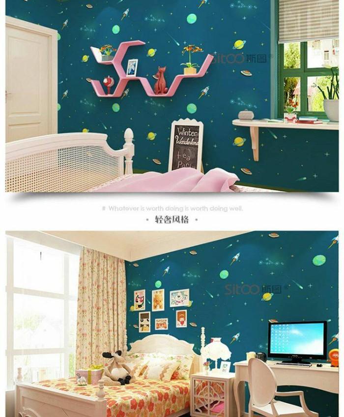 jual 4858 wallpaper sticker dinding murah, galaxy luar angkasa