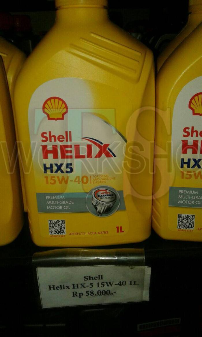 Jual Oli Mobil Shell Helix Hx5 15w 40 1 Liter Tsworkshop Tokopedia Api Sn Mesin Bensin 4