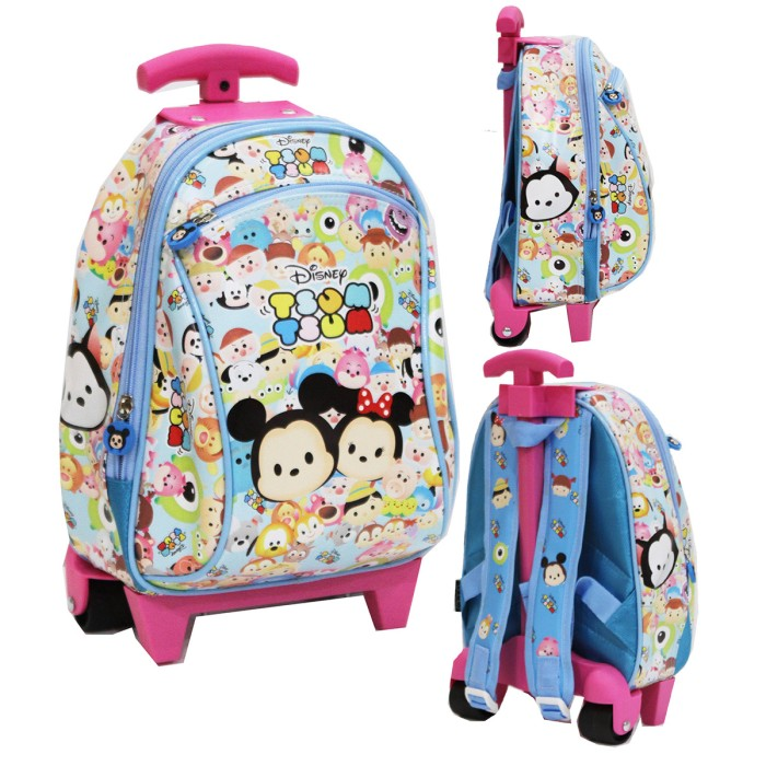 Onlan Tas Trolley Anak Sekolah Paut Bahan Kain Sponge Tahan Air Blue ... 5e19617439
