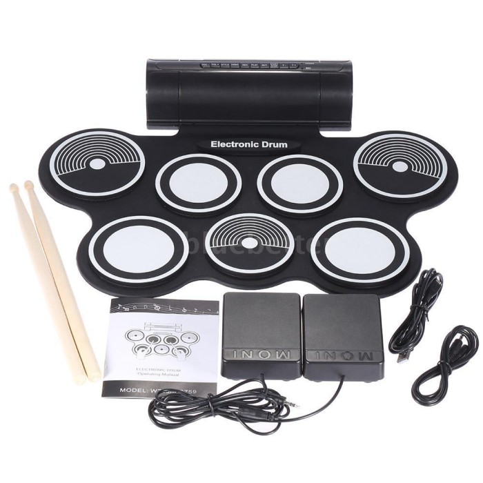 harga Portable roll up drum pad set kit with built-in speaker (no cd) Tokopedia.com