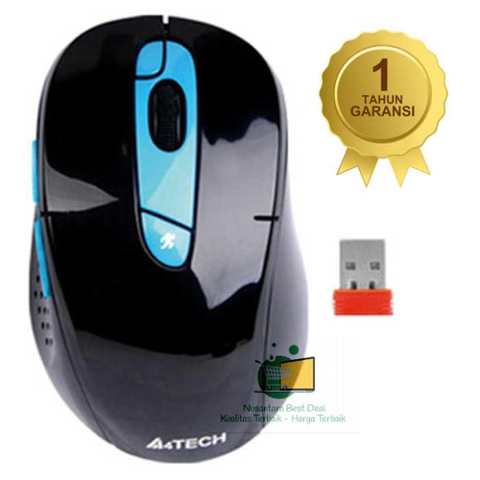 harga A4tech mouse g11-570fx wireless, 7 buttons, rechargable, biru, ori Tokopedia.com