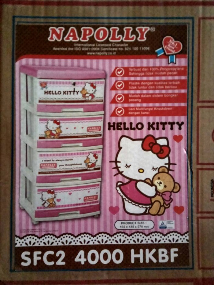 harga Lemari laci plastik napolly susun 4 - hello kitty 4000 hk Tokopedia.com