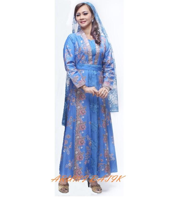 harga Gamis long maxi dress batik baju muslim muslimah 1518 biru Tokopedia.com