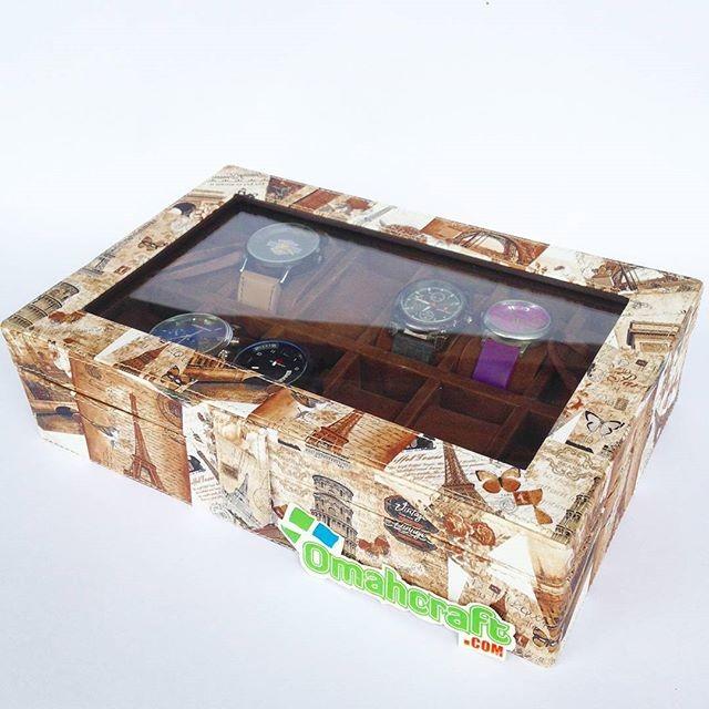 Kotak Jam isi 12 Motif Paris Coklat / Tempat Jam Tangan / Watch Box