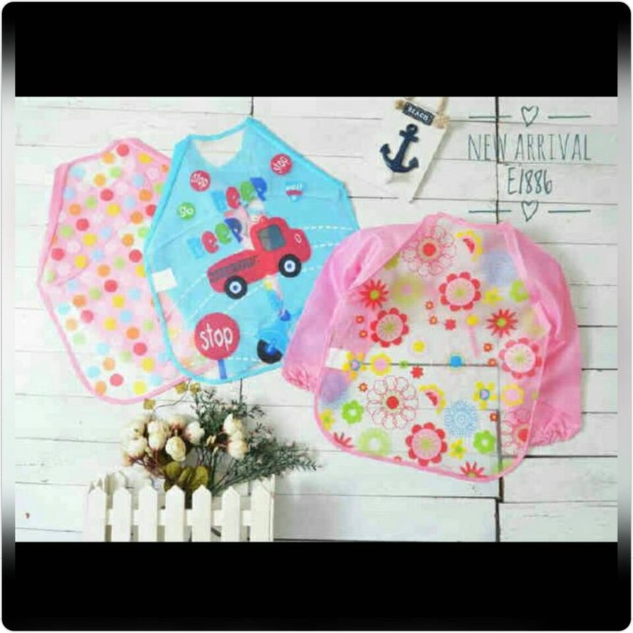 Foto Produk slabber plastik eva baju tangan bib celemek anak balita toddler kids dari Honey Bee Babyshop