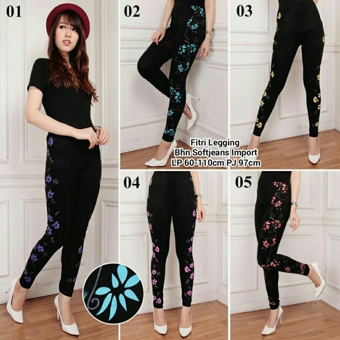 Jual Soft Jeans Legging Hitam Motif Bunga Samping Celana Panjang Jakarta Barat Barokah Jaya Indah Tokopedia