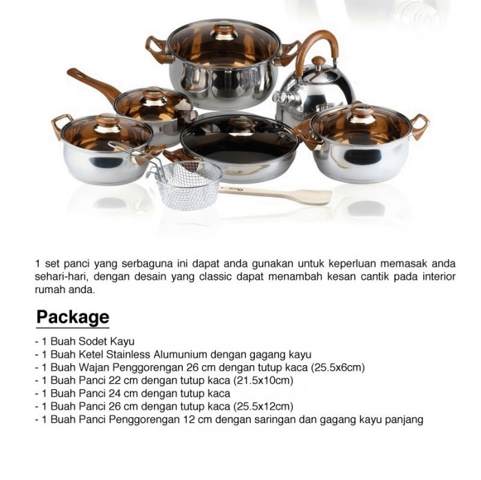 Eco cookware set panci stainless oxone ox-933