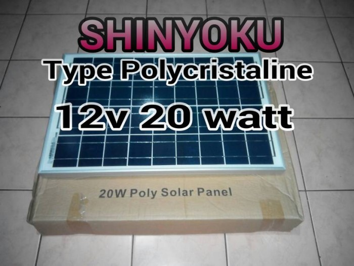 harga Panel Surya Shinyoku 12v 20 Watt Peak Tokopedia.com