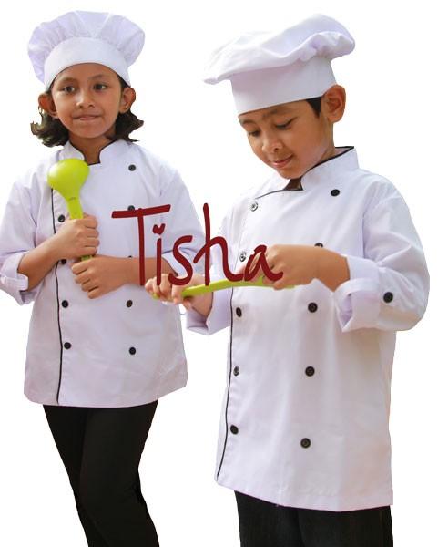 Kostum baju koki + topi anak uk 4 (4-5 tahun) /tangan panjang/putih