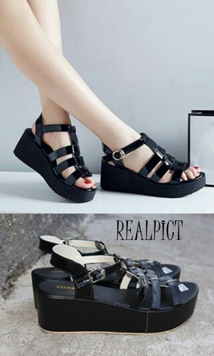 harga Sepatu wanita/wedges/style sakotuli hitam Tokopedia.com