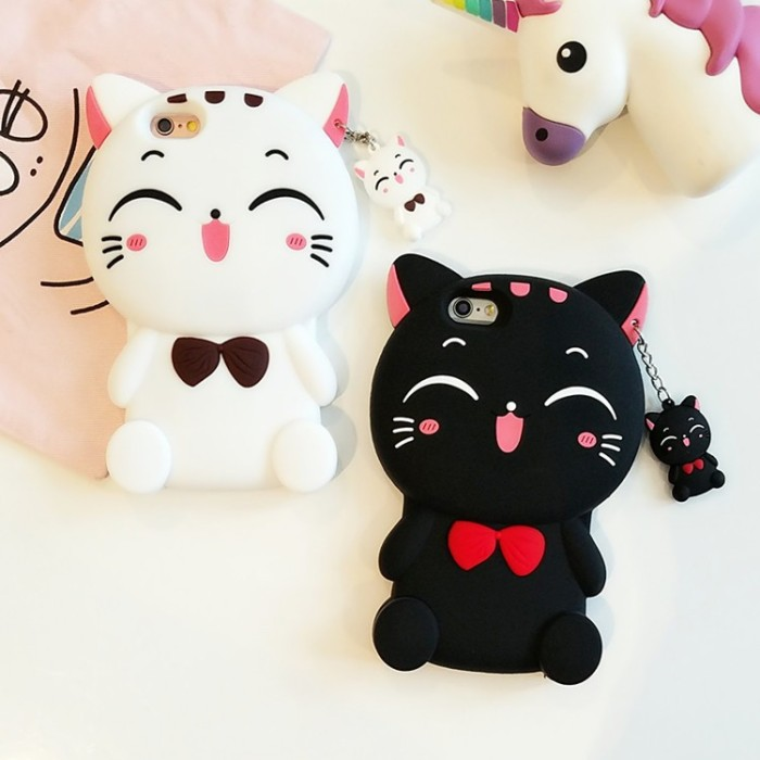 harga Iphone 5 5s 3d cartoon kawaii bow tie cat silicone soft cover case Tokopedia.com